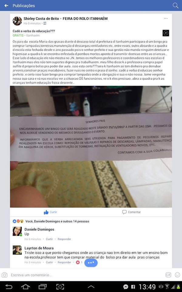 artigo Professores, pais e amigos, fazem bingo para consertar escola em Itanhaem
