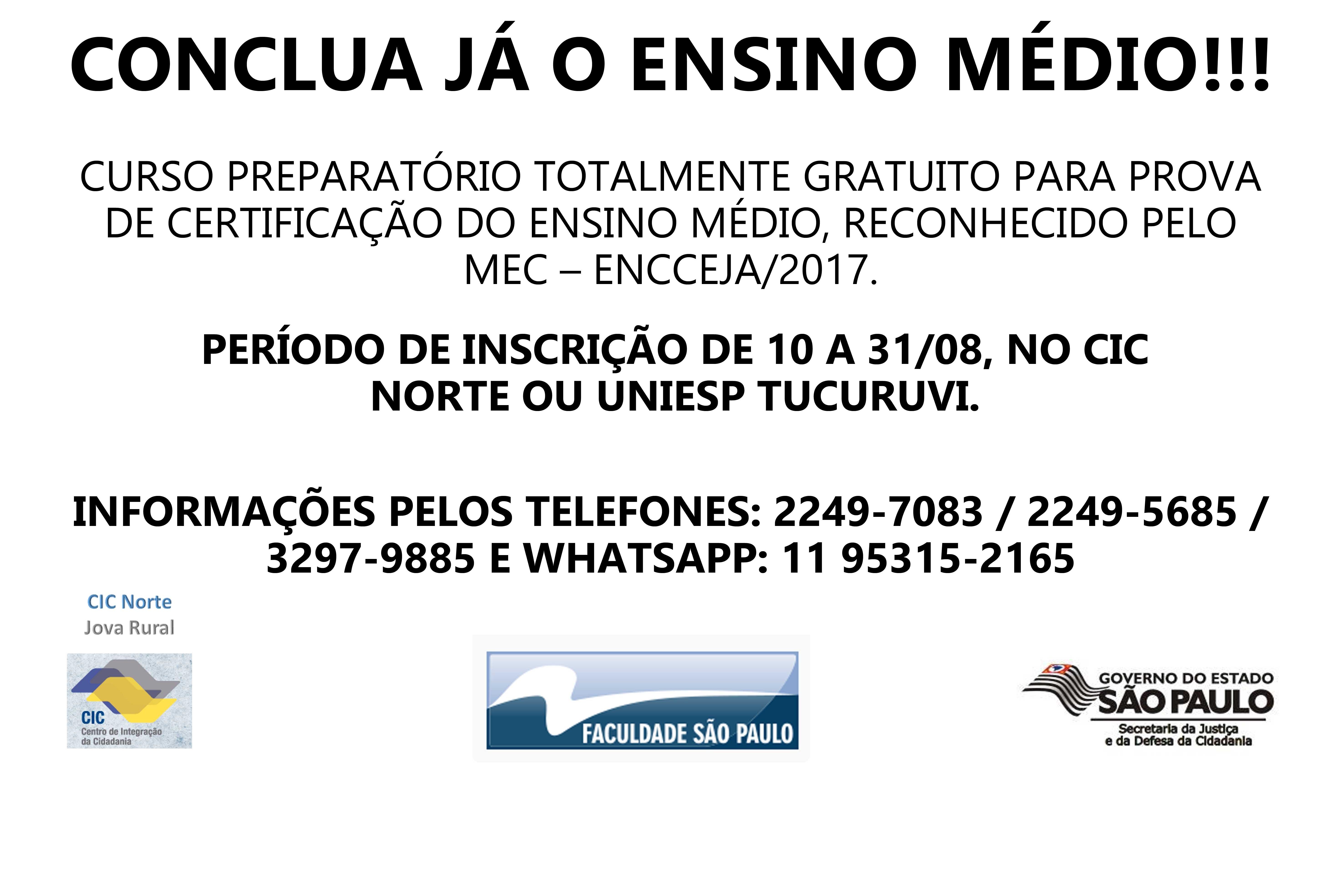 noticia UNIESP OFERECE CURSO PREPARATÓRIO GRATUITO PARA PROVA DE CERTIFICAÇÃO DO ENSINO MÉDIO